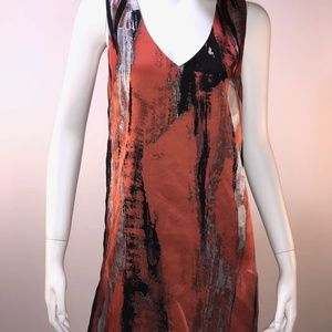 Robert Rodriguez Terracotta Print Silk Dress